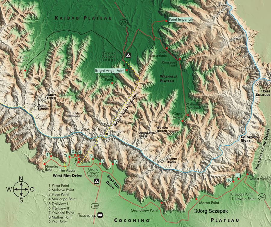Usa Karten In 3d Ansicht Der Grand Canyon
